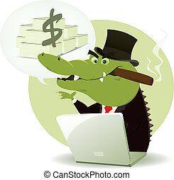 Crocodile Bankster Crook - Illustration of a funny cartoon...