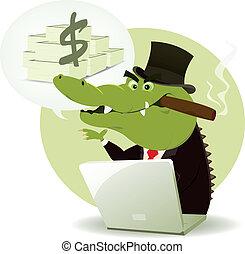 crocodile, bankster, escroc