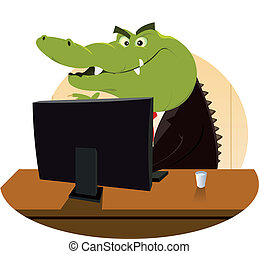 Crocodile Bankster - Illustration of a cartoon crocodile...