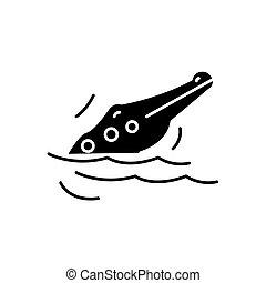 Crocodile black icon, vector sign on isolated background. Crocodile concept symbol, illustration