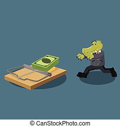crocodile business running illustration design