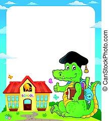 crocodile, cadre, thème, école