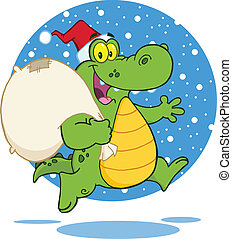crocodile, caractère, dessin animé, santa