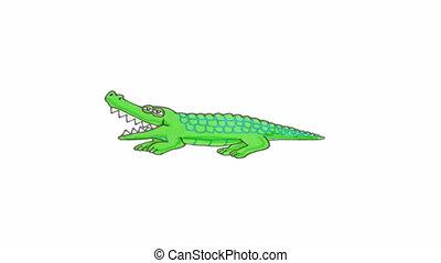 Crocodile cartoon stop motion animation - Crocodile walking...