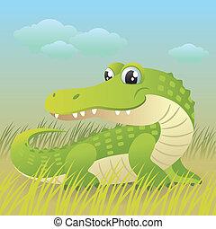 Crocodile - Cartoon vector illustration of a cute baby...