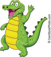 Crocodile cartoon with hand waving