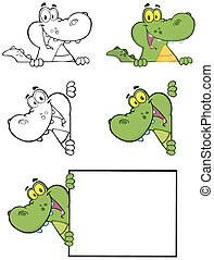 Crocodile Cartoon Mascot Character 2. Collection Set