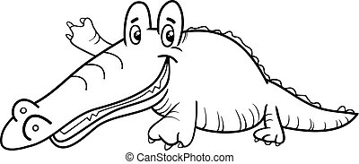 crocodile character coloring page