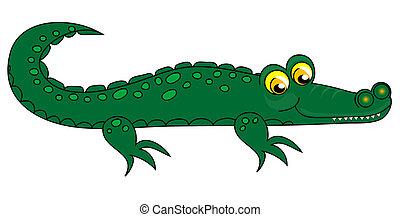 Crocodile clip-art. - Crocodile clip-art, green over white...