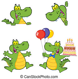 crocodile, dessin animé, caractères