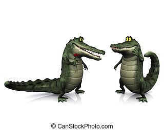 crocodile, dessin animé, couple.