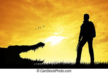 Crocodile - Alligator on river