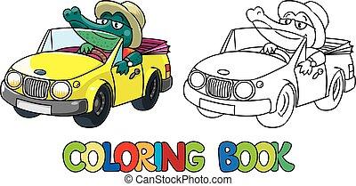 crocodile-driver., kleurend boek