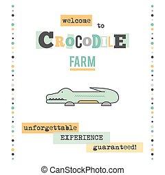Crocodile farm banner - Vector vertical banner template....