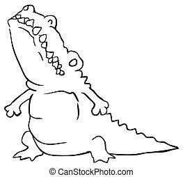 Crocodile Fat Cartoon Line Drawing
