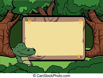 crocodile forest scene with wood