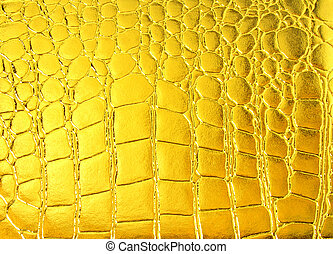 Crocodile golden leather