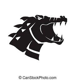 Crocodile Head Angry mascot sport design Template Isolated