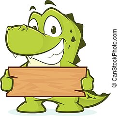 Crocodile holding a plank of wood