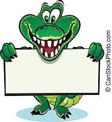 Crocodile holding sign