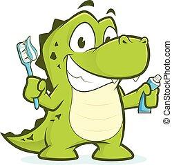 Crocodile holding toothbrush