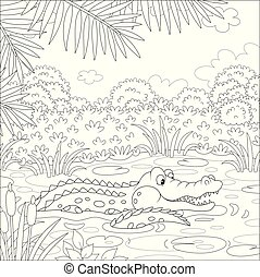 Big alligator swimming in water under palm branches in tropical jungle, black and white vector illustration in a cartoon style for a coloring book