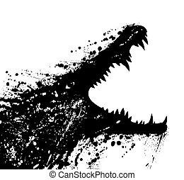 Crocodile - Illustration of a grungey crocodile launching an...