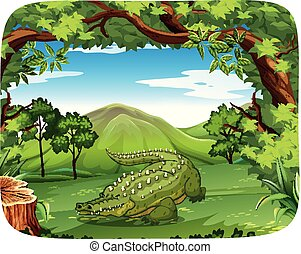 Crocodile in nature scene