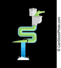 Crocodile in sewer. Alligator in sewerage pipe. Predator animal. City legend. Toilet and Water Supply and Sewerage System. Vector illustration