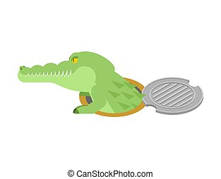 Crocodile in sewer hatch. Alligator in manhole cover. Predator animal in well hatch. City legend. Vector illustration