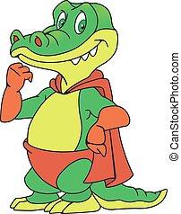 Crocodile in the raincoat