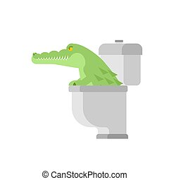 Crocodile in toilet. Alligator in sewer. Predator animal. City legend. Vector illustration