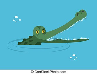Crocodile in water. large alligator in swamp. Cute caimans...