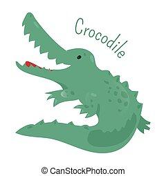 Crocodile isolated. Sticker for kids. Child fun icon.