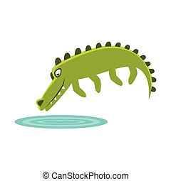 Crocodile Jumping In Small Pond Of Water, Cartoon Character And His Everyday Wild Animal Activity Illustration