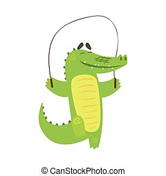 Crocodile Jumping Skipping Rope, Humanized Green Reptile Animal Character Every Day Activity