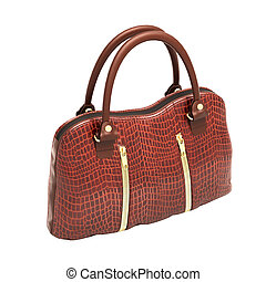 Crocodile leather handbag isolated - Crocodile leather...