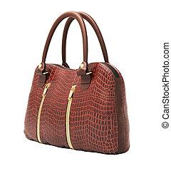 Crocodile leather handbag isolated - Crocodile leather women...