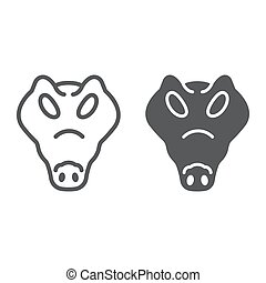 Crocodile line and glyph icon, animal and, reptile sign...