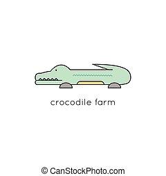 Crocodile line icon - Crocodile vector thin line icon....