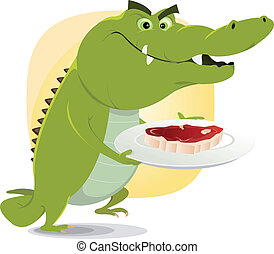 Illustration of a cartoon crocodile about to eat a big steak