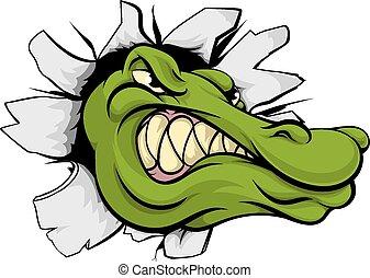 Crocodile or alligator head breaking through wall