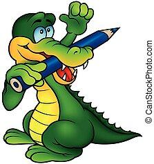 crocodile, peintre