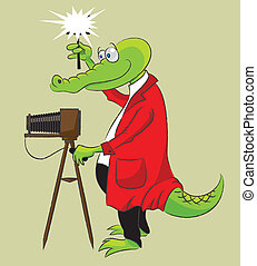 Crocodile - photographer - Cheerful crocodile in a red...