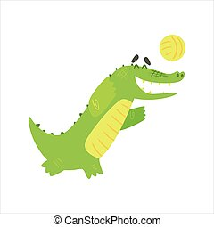 Crocodile Playing Volleyball, Humanized Green Reptile Animal Character Every Day Activity