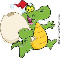 Crocodile Santa Character - Crocodile Santa Cartoon Mascot...