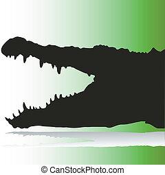 crocodile, silhouettes, vecteur