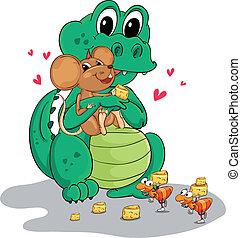 crocodile, souris