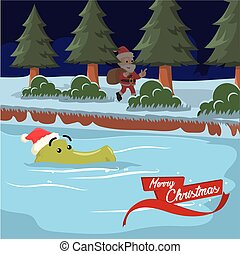 crocodile spotted santa illustration design