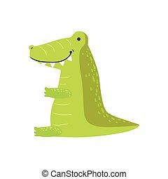 Crocodile Stylized Childish Drawing
